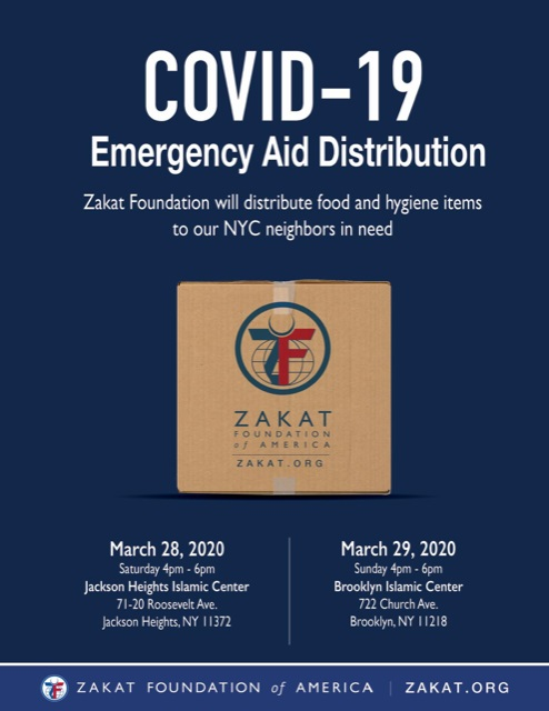 Zakat Foundation will dsitribute food and hygine items