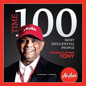 Tony Fernandes named one of TIME Magazine's Time 100 Most Influential People